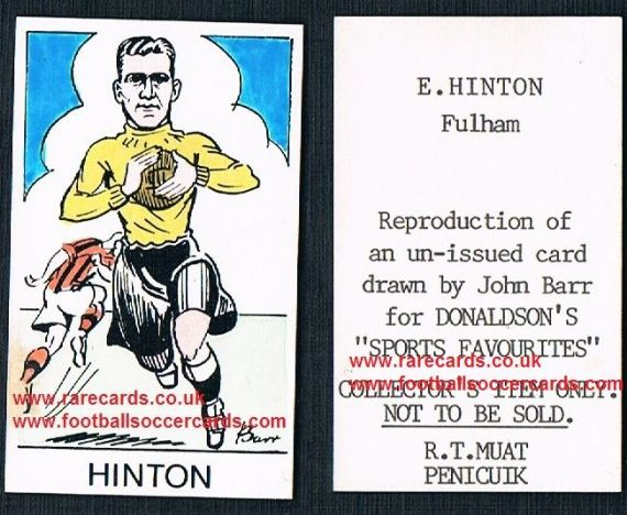 1968 Barr Muat Donaldson unissued 1948 card Ted Hinton Millwall Fulham